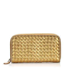 Gold Bottega Veneta Intrecciato Leather Zip Around Wallet