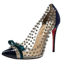 Christian Louboutin Blue Suede Leather And PVC Bille Studded Bow Pumps Size 36.5