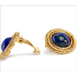 Chanel Cobalt Blue Gripoix Gold Clip On Earrings