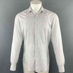 Lanvin Size M Grey Window Pane Cotton Button Up Long Sleeve Shirt