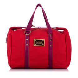 Vintage Authentic Louis Vuitton Red Canvas Fabric Antigua Cabas GM FRANCE
