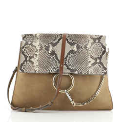 Faye Shoulder Bag Python and Suede Medium