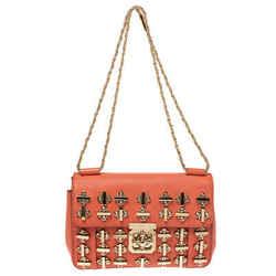 Chloe Orange Leather Medium Crystal Embellished Elsie Shoulder Bag
