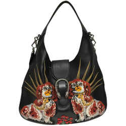"""Gucci Dionysus Maxi Extra Large with Dogs Embroidery Black Leather Cross Body Bag 13""""L x 17""""W x 2.5""""H Item #: 24096385"""