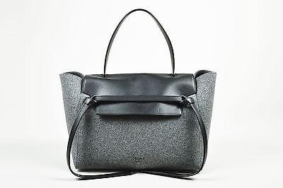 "Celine $2200 Winter 2014 Black and Gray Wool and Felt Top Handle ""Belt"" Flap Bag"
