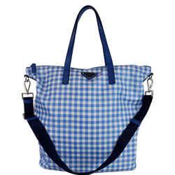 Prada Textured Nylon Check Tote Shoulder Bag Blue