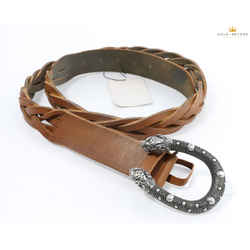 Gucci Brown Woven Leather Belt W/ Double Tiger Head Buckle