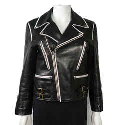 Gucci 2017 $5k Black Leather Motorcycle Jacket - Womens White Trim Zip Up 38 - 0