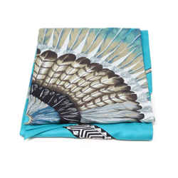 Hermes Turquoise Feather Print Silk Scarf
