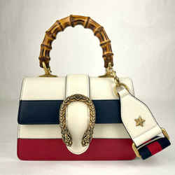 Gucci Dionysus White Leather Mini Bamboo Top Handle Shoulder Bag 523367 9090