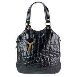 Tribute Crocodile Embossed Leather Tote Bag