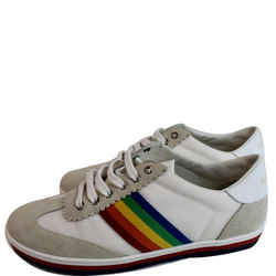 GUCCI  Suede Stripe Rainbow G74 Leather Sneakers White 552969 US 5