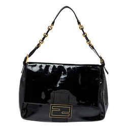 Fendi Black Patent Leather Large Mama Forever Flap Shoulder Bag