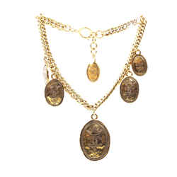 Chanel Gold 6 Medallion Motifs Crown CC Charms Necklace
