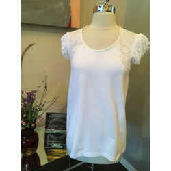 Ermanno Scervino Sz 40  White Cotton Knit Knit  Lace Trim Top - 3-285-91519