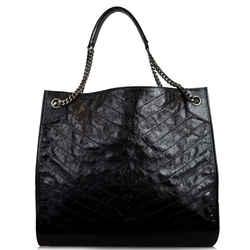 YVES SAINT LAURENT Niki Large Crinkle Leather Shopper Tote Bag Black