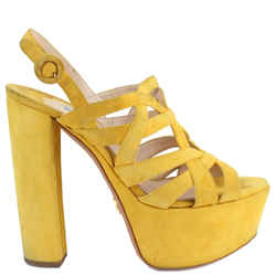 Prada High Platform Pumps Sandals Yellow Sz Us 8.5 Authenticity Guaranteed