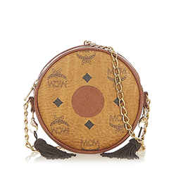 Vintage Authentic MCM Brown Calf Leather Visetos Crossbody Bag Germany