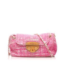 Vintage Authentic Prada Pink Tweed Fabric Sound Lock Shoulder Bag Italy