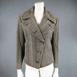 Dries Van Noten Size 8 Beige & Black Print Wool Pointed Lapel Jacket
