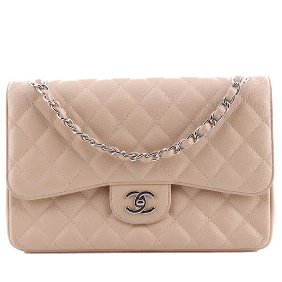 Chanel Classic Double Flap Crossbody Bag Beige One Size
