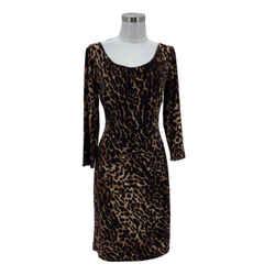 N1554 Lauren Ralph Lauren Designer Dress Size 12 Large Cheetah Print Sheath