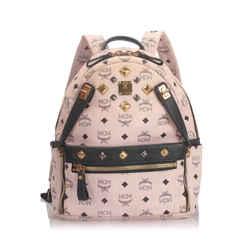 Vintage Authentic MCM Pink Visetos Stark Backpack Germany