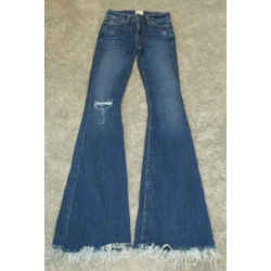 "Ao.la  Alice And Olivia ""beautiful"" Distressed Blue Jeans W/ Fringe Bottom - 24"