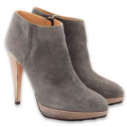 NEW $812 VALENTINO GARAVANI Suede Ankle Platform Booties - Grey - Size 37