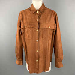 Frame Brown Suede Size L Gold Metal Snaps Long Sleeve Shirt