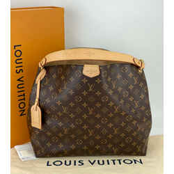 Louis Vuitton Graceful MM Monogram Canvas Large Hobo Beige M43704 A633 Authentic