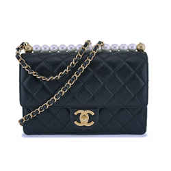 19s Chanel Black Lambskin Chic Pearls Classic Limited Mini Pearl Flap Bag Ghw