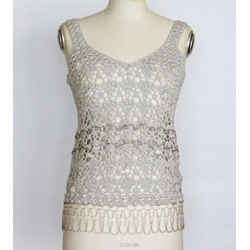John Galliano Top Silver Crochet Faceted Large Crystals Beading Detail M
