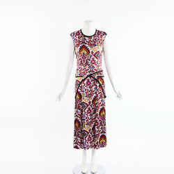 Dries Van Noten Calybe Pixelated Silk Maxi Dress SZ 38