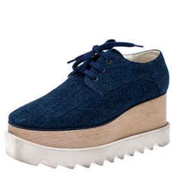 Stella McCartney Blue Denim Fabric Elyse Platform Derby Size 36.5