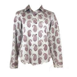 DRIES VAN NOTEN Gray Button Down w/ Paisley Print Size 36