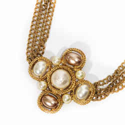 Karl Lagergeld Gold Chain and Costume Pearl Maltese cross Necklace
