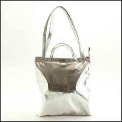 Rdc11496 Authentic Rebecca Minkoff Silver Metallic Fabric 4 Handle Tote Bag