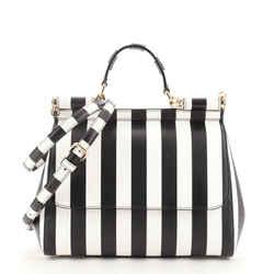 Miss Sicily Bag Striped Leather Medium