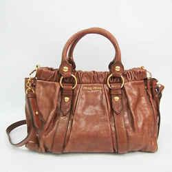 Miu Miu Women's Leather Handbag,Shoulder Bag Brown BF527562