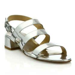 $355 Stuart Weitzman Barrio Silver Leather Slingback Sandals Shoes Size 7.5 37.5