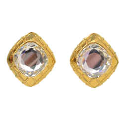 Chanel Vintage '70s-'80s Gold & Crystal Clip On Earrings
