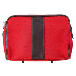 """Coach Red Canvas Brown Leather Tablet Case 11""""l X 8""""h X 1""""w"""