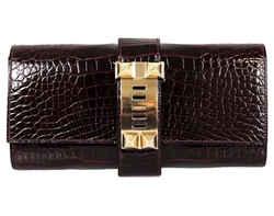 Hermes Medor Shiny Porosus Crocodile Borduex 23cm Clutch