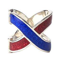 New/authentic Gucci 476873 Garden Sterling Silver And Enamel Ring, Red/blue