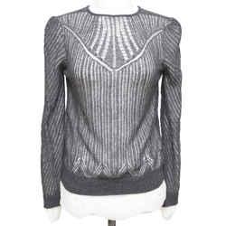 ALEXANDER McQUEEN Grey Sweater Knit Top Wool Silk Long Sleeve Underlay Sz M