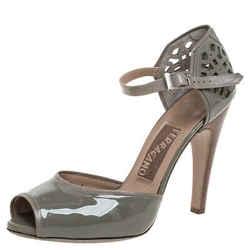 Salvatore Ferragamo Grey Patent Leather Cutout Ankle Strap Open Toe Sandals