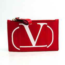 Valentino Garavani V Logo Coin Case Leather Card Case Red Color,White BF534947