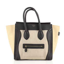 Tricolor Luggage Bag Canvas and Leather Mini