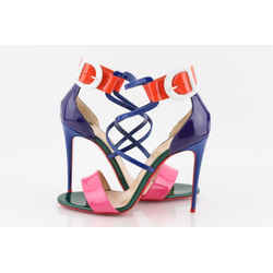 Christian Louboutin Multi-color Choca Patent Leather Ankle Cuff Heel Sandals